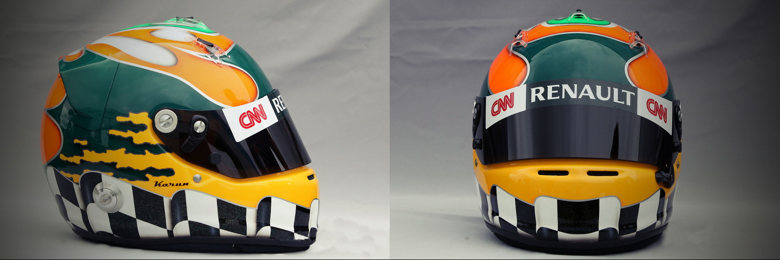 Шлем Каруна Чандхока на сезон 2011 года | 2011 helmet of Karun Chandhok